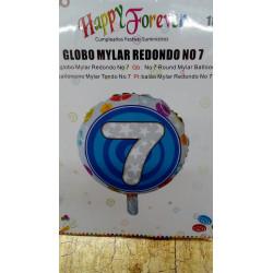 Globo de foil redondo número 7 fiesta