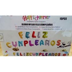 """Globos foil """"Feliz cumpleaños"""" 15 letras"""