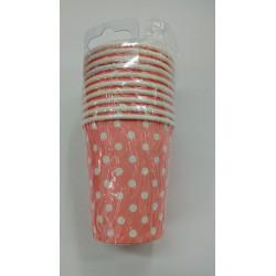 Vasos rosas con puntos blancos