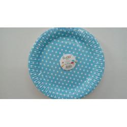 Vasos azules con puntos blancos