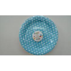 Platos de postre azules con puntos blancos