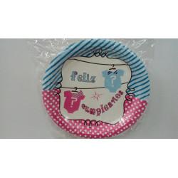 platos postre feliz cumpleaños azul/rosa