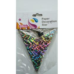 Estrella de cartón plateada. 30 cm.