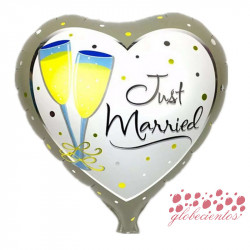 """Globo diseño """"Just married"""" 45 cm"""