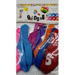 "Globos redondos de colores número ""9"""