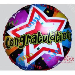 """Globo """"Congratulations"""" diseño 2, 45 cm"""
