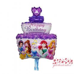 "Globo ""Happy Birthday"" tarta princesas, 48x28 cm"