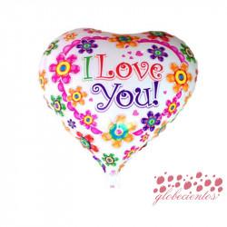 """Globo corazón """"I Love You!"""" flores 45 cm"""