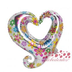Globo flores silueta corazón 45 cm
