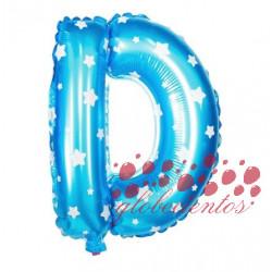 Globo letra D azul, 38 cm