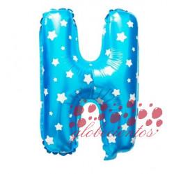 Globo letra H azul, 38 cm