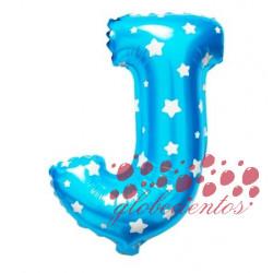 Globo letra J azul, 38 cm