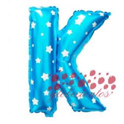 Globo letra K azul, 38 cm