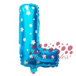 Globo letra L azul, 38 cm
