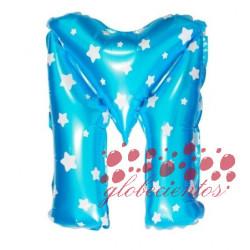 Globo letra M azul, 38 cm