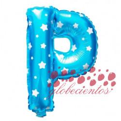 Globo letra P azul, 38 cm