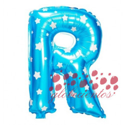Globo letra R azul, 38 cm