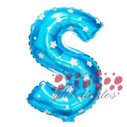 Globo letra S azul, 38 cm