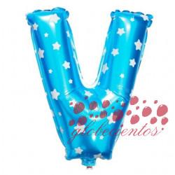 Globo letra V azul, 38 cm