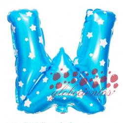 Globo letra W azul, 38 cm