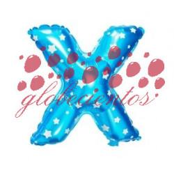 Globo letra X azul, 38 cm