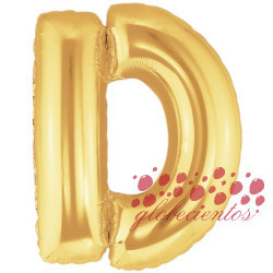Globo letra D dorada, 38 cm