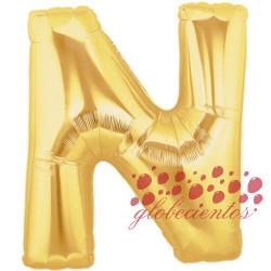Globo letra N dorada, 38 cm