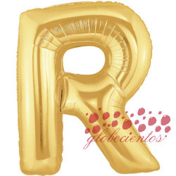 Globo letra R dorada, 38 cm