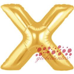 Globo letra X dorada, 38 cm