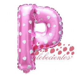 Globo letra P rosa, 38 cm