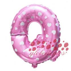 Globo letra Q rosa, 38 cm