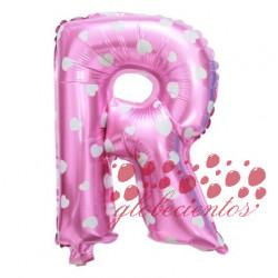 Globo letra R rosa, 38 cm