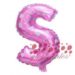 Globo letra S rosa, 38 cm