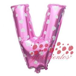 Globo letra V rosa, 38 cm