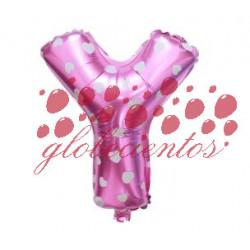 Globo letra Y rosa, 38 cm