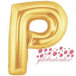 Globo letra P dorada, 97 cm