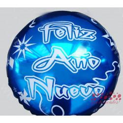 "Globo redondo azul ""Feliz Año Nuevo"", 45 cm"