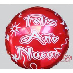 """Globo redondo rojo """"Feliz Año Nuevo"""", 45 cm"""