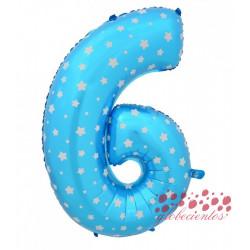 Globo número 6 azul, 38 cm