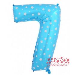 Globo número 7 azul, 38 cm