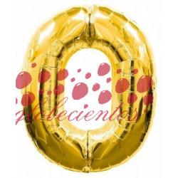 Globo número 0 dorado, 38 cm