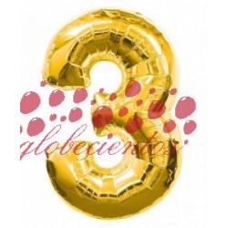 Globo número 3 dorado, 38 cm