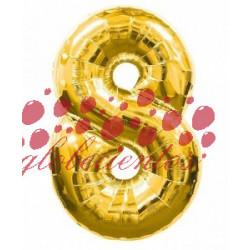 Globo número 8 dorado, 38 cm