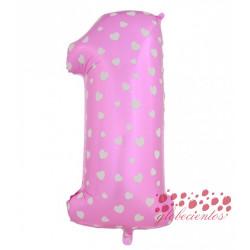 Globo número 1 rosa, 38 cm
