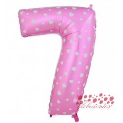 Globo número 7 rosa, 38 cm