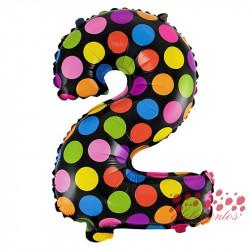 Globo número 2 diseño puntos, 38 cm
