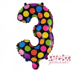 Globo número 3 diseño puntos, 38 cm