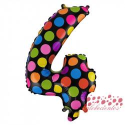 Globo número 4 diseño puntos, 38 cm