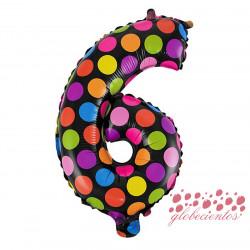 Globo número 6 diseño puntos, 38 cm