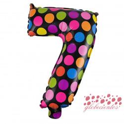 Globo número 7 diseño puntos, 38 cm